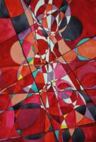 "John Carnes, ""Exaltation in Red,"" watercolor, 2016, 18.5"" x 12.5"""