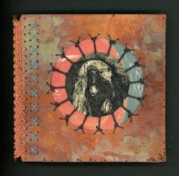"""Cynthia Motian McGuirl, """"The Tunnel: Dream #27"""" 5.25"""" x 5.25"""" x .5"""" unique book with hand hammered copper cover, etchings, marbled papers, hand stitched with  waxed linen"""