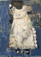 "Otty Merrill, ""Blue Christening Dress"", 2016, Encaustic/mixed media, 18 x 24"""