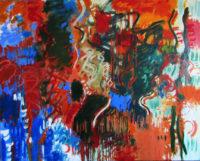 """Lorna Ritz, """"Glittery Runs Over a Steady Pulse,"""" 2017, oil on canvas, 38 x 48"""""""