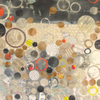 """Willa Vennema, """"Layers of Time Series #1"""", 20"""" x 20"""", Encaustic and Collage on Panel"""