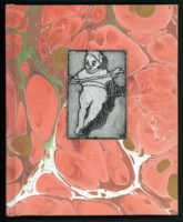 """Cynthia Motian McGuirl, Sketchbook 8.5"""" x 6.75"""" x .75""""  Marbled paper, etching, hand stitched with linen"""