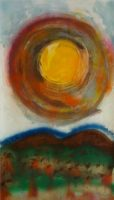 Solar Flare #8, 2011, Mixed on Stonehenge, 25 x 50""