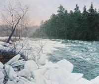 "Janice Anthony, ""River Ice, Passagassawakeag,"" 28x33"""