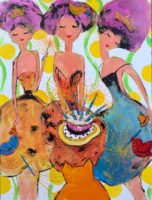 """Russell D'Alessio, """"Party Hat for Fat Cat,"""" acrylic on canvas, 48 x 36"""""""