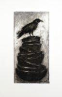 "Lissa Hunter, ""Bowls and Crow I,"" 2016, charcoal drawing, 25 x 33"""