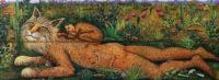 """Gato Montaña, 2017, oil on wood, 34 x 76"""""""