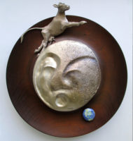 "Lunar Eclipse, 2014, bronze & wood, 11 x 11 x 2 1/2"""