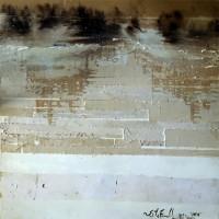 "Shifting Threshold Series: Winter: Shift 1, 2015, mixed  media on wood, 48 x 48"""