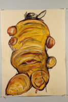 """Lori Schafer, Giant Carrot, 1998, mixed media drawing on paper, 30 x 22.5"""""""