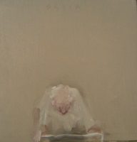 Donna Festa, Man Using a Walker, 2016, oil on wood, 5.5 x   5.5 inches