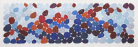 """Nancy Simmons, Red and Blue Cadence, 21x 53,"""" Gouache on Paper"""