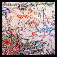 "Petrea Noyes, Strawberry Fields Forever, 2017, mixed media on canvas, 40x40"""