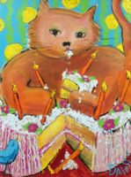 """Russell D'Alessio, """"Fat Cat,"""" acrylic on canvas, 48"""" x 36"""""""