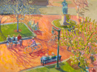 """Louise Bourne, Bicycling in the Square, oil on canvas, 36 x 48"""""""