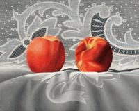 """Kenneth Schweizer, """"Peaches and Lace,"""" oil on panel, 8 x 10"""""""
