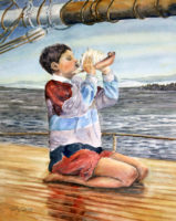 "Boy with Conch, 2016, wc, 14 x 11"""