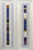 "Nancy Simonds, Oceanward Color Stacks I & II, 59"" H x 40"" W, Gouache on Paper"