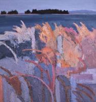 "June Kellogg, Stay Close To Nature, 2017, Acrylic & Ceramic Stucco on Canvas, 32 x30"""