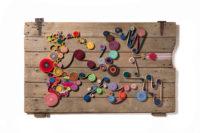 "Ian Trask, ""Evolution,"" 2014, elastic textile on wood, 34 x 54"""
