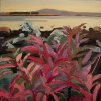 "June Kellogg, Bernard Mountain Early Autumn, 2016, Acrylic & Ceramic Stucco on Canvas, 24 x24"""