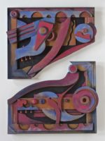 Bernice Massé Rosenthal. Split Frame #1; Painted wood assemblage; each part is 16 x 27 x 3 inches, rearrangeable.