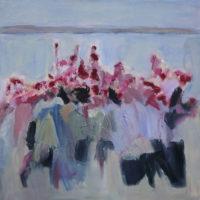"June Kellogg, Appreciating The Ordinary, 2015, Acrylic & Ceramic Stucco on Canvas, 30 x 30"""