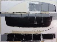 "Conrad Guertin, ""Reflecting On Harbor Island Maine,"" acrylic and latex paint, 37 x 49"""