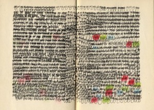 """Cynthia C. Davis, """"Book, Page,"""" 2014, ink on paper, 6.5 x 4.25 in"""