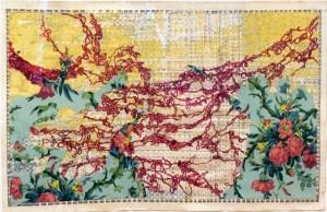 "Cynthia C. Davis, ""Coast to Coast,"" 2013, acrylic and paper, 34 x 53 in."