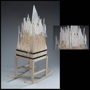 "Adam John Manley, ""Armada/Regatta,"" 2012, 2 x 4s, ash, nylon, string, 20 x 30 x 48 in."