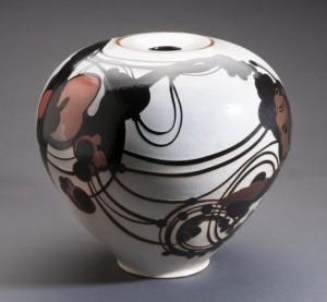 "Susan Dewsnap, ""Inset Lid Jar,"" 2014, stoneware, slips, and glazes, 9.5 x 11.5 in."