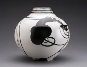 "Susan Dewsnap, ""Vase Form,"" 2014, stoneware, slips, and glazes, 9 x 9 in."