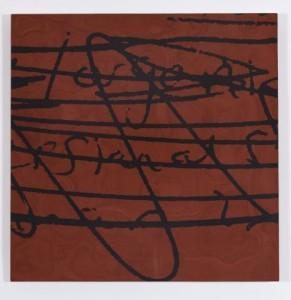 "Adriane Herman, ""Organize,"" 2013, inlaid burnishing clay on wood panel, 16 x 16 in."