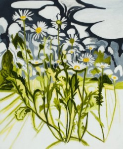 """John Knight, """"Oxeye Daisy Drawing,"""" 2013, pencil and acrylic on Mylar, 36 x 30 in. Courtesy Elizabeth Moss Galleries, Falmouth, ME."""