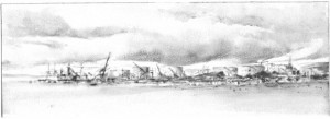 """Dennis Pinette, """"Mack Point Fuel Terminal 1,"""" 2013, graphite on paper, 5 x 14 in."""