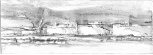 "Dennis Pinette, ""Mack Point Fuel Terminal 2,"" 2013, graphite on paper, 5 x 14 in."