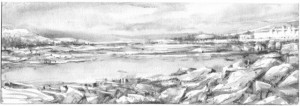 "Dennis Pinette, ""Mack Point and Sears Island 3,"" 2013, graphite on paper, 5 x 14 in."