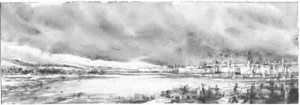 """Dennis Pinette, """"Mack Point and Sears Island 4,"""" 2013, graphite on paper, 5 x 14 in."""