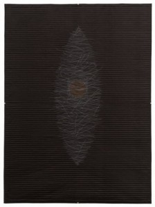 """Daphne Taylor, """"Quilt Drawing #15,"""" 2012, silk fabric, cotton backing, cotton embroidery thread. Whole cloth, hand quilted, hand embroidered, 53 x 39 in."""