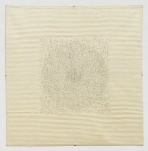 "Daphne Taylor, ""Quilt Drawing #16,"" 2012, silk fabric, cotton backing. Whole cloth, hand quilted, hand embroidered, 50 x 51 in."