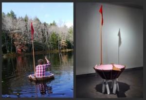 "Adam John Manley, ""Small Craft #1,"" 2012, insulation foam, wood, burlap, found objects, mixed media, 40 x 40 x 36 in."
