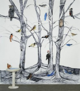 """Barbara Sullivan, """"Bird Guide,"""" 2011, Sharpie drawings with fresco objects, 120 x 108 x 12 in. Courtesy Caldbeck Gallery, Rockland, ME."""