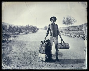 """Cole Caswell, """"Transient Salesman,"""" 2013, tintype printed on newsprint, 40 x 50 in. Courtesy Susan Maasch Fine Art, Portland, ME."""