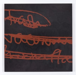 "Adriane Herman, ""Trash, Vacuum,"" 2013, inlaid burnishing clay on wood panel, 16 x 16 in."