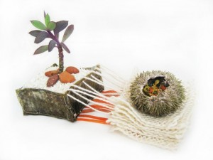 "Leah Gauthier, ""Some bring gifts, 2456714.01616,"" 2014, live succulent, foraged rocks, sand, urchin shell, forsythia flowers, wild violets, rice, dehydrated carrots, wool yarn, brass mesh fabric, 8 in. x variable in."
