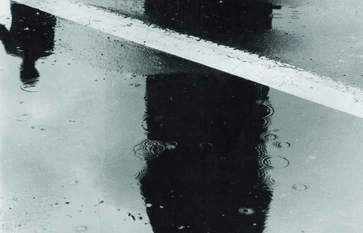 "Rudy Burckhardt, ""Flatiron Building, Rain,"""