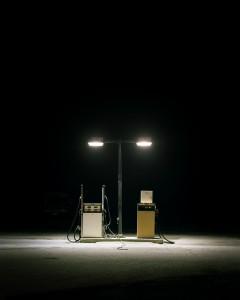 """Benjamin Rush, """"Fuel Pumps, Rt. 201, South Main St. Bingham, ME,"""" 2005, Lambda C-print, 38 x 32"""""""